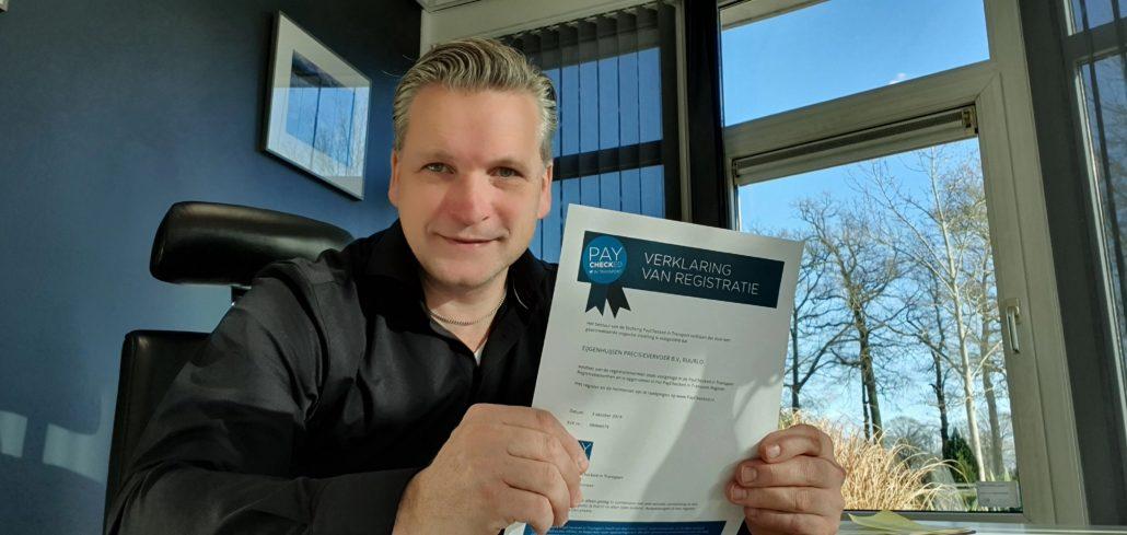 Marcel Reurink, Eijgenhuisen precisievervoer, kiest voor Paychecked inspectie van Bureau Cicero